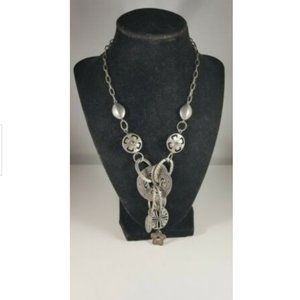 Silver Tone Round Flat Bead Cluster Necklace